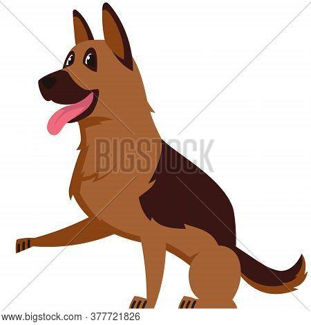 German Shepherd Giving Paw. Cute Pet In Cartoon Style.