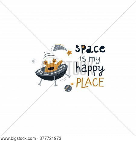 Cute Alien In Spaceship. Vector Illustration On The Cosmic Theme