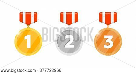Gold Silver Bronze Victory Medal Reward Set With First Second Third Place Number And Striped Ribbon