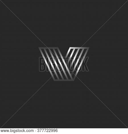 Monogram V 3d Logo Letter Creative Monogram, Direction Symbol, Typography Design Element, Metallic G