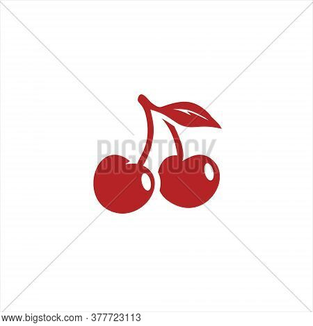 Red Cherry Icon Simple Modern Flat Fresh Vector Shape For Food Logo Graphic Design Template Idea