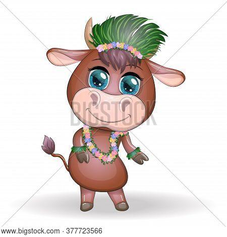 Cute Bull, Ox Character Of Hawaiian Hula Dancer. Cheerful Ox Dancing. 2021 Year Animal Symbol. Chine