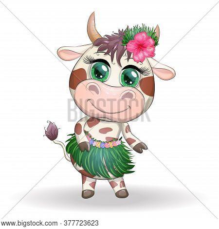 Cute Ox, Cow Character Of Hawaiian Hula Dancer. Cheerful Ox Dancing. 2021 Lunar Year Animal Symbol.