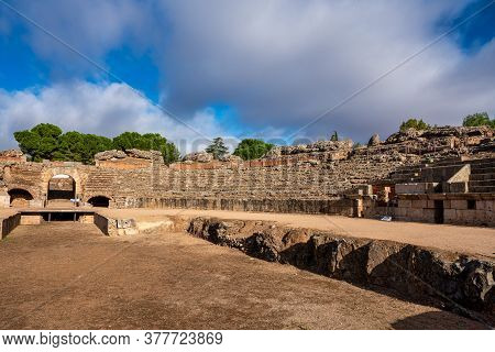 Roman Amphitheatre In Merida, Augusta Emerita In Extremadura, Spain. Roman City - Temples, Theatres,