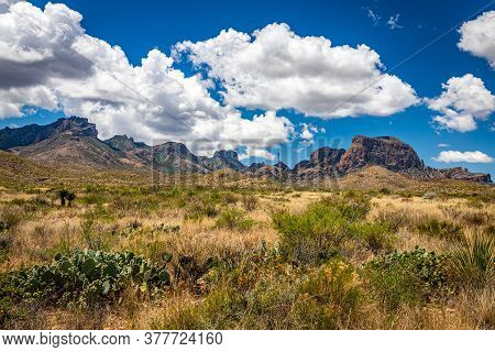 View  Of Chisos Mountains From Gano Springs Road Near Basin Junction Road At Big Bend National Park