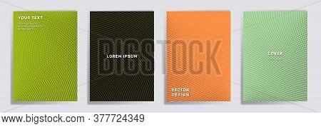 Semicircle Lines Halftone Covers Vector Collection. Minimal Brochure Title Page Layouts. Notepad, Ma