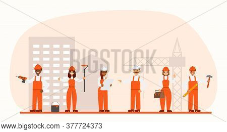 Set Of Professional Builders. Collection Of Flat Vector Builders, Technicians, Repairman, Engineers,