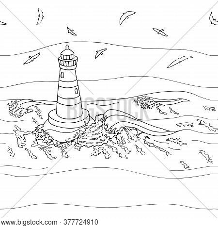 Seamless Pattern With Outline Beacon And Seagulls. Marine Vector Illustration. Hand Drawn Doodle Bla