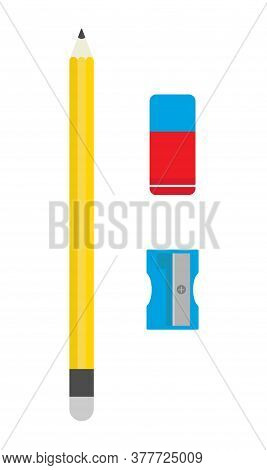 School Sharpener, Pencil And Eraser. Back To School. School Office. Flat Vector Illustration.