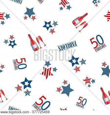 Fifty And Fabulous Seamless Vector Pattern Background. Red, Blue, White Backdrop With Typography , S