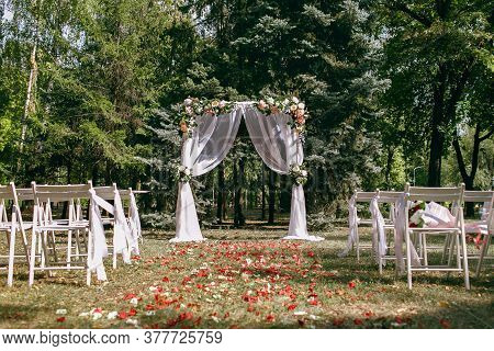 Wedding Arch On The Background Of Pines, Preparation For The Wedding Ceremony, Wedding Decor, There