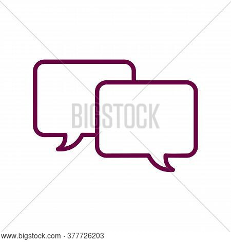 Two Speech Bubbles Icon Thin Line For Web And Mobile, Modern Minimalistic Flat Design. Vector Dark G