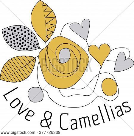 Cute Gold, Black And Silver Love And Camellias Placement Print