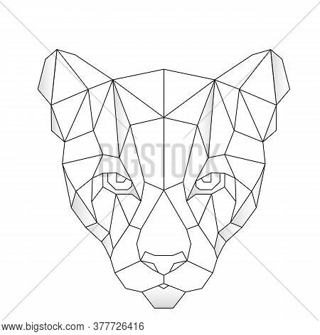 Abstract Linear Polygonal Head Of A Puma. Contour For Tattoo, Logo, Emblem And Design Element.