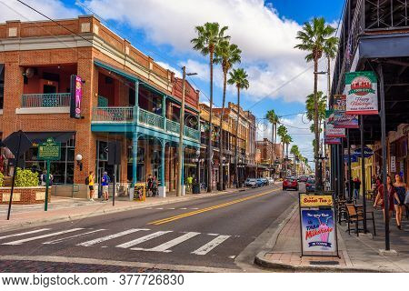 Ybor City, Tampa Bay, Florida. Usa - January 11 , 2020 : Famous 7th Avenue In The Historic Ybor City