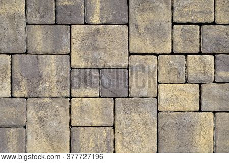 Gray Texture Of Cement Paving Slabs Or Cobblestone For Banner. Mock Up Or Template For Modern Design