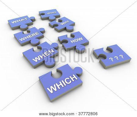 3D Question Word Puzzle Peaces