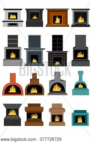 A Large Set Of Sixteen Fireplaces For Interior Space. Fireplaces For Illustration For Holidays, Bann
