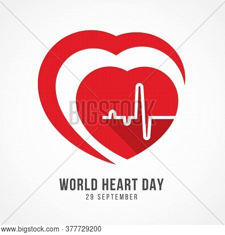 World Heart Day Banner With Cardiology Wave In Red Heart Sign Vector Design