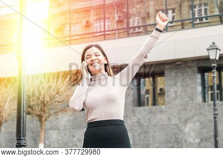Success Achieved Young Attractive Business Woman Or Student In Front Of A Modern Building Business C
