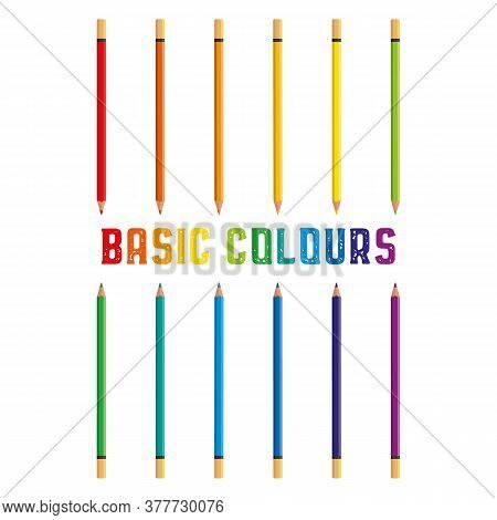 Colored Crayons, Color Pencils 12 Basic Colors Vector Illustration With Space For Text Isolated On W
