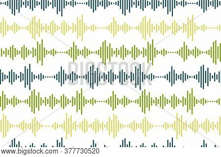 Seamless Pattern Of Sound Waves As Equalizer Isolated On White Background. Vector Illustration