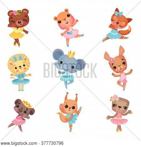 Cute Animals In Ballerina Dresses Dancing Vector Illustration Set