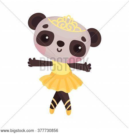 Cute Panda In Ballerina Dress And Diadem On Head Dancing Vector Illustration