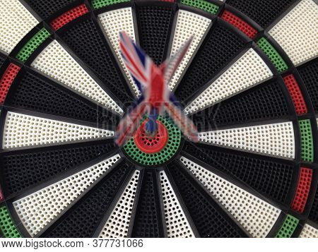 Bullseye Darts Dartboard With Britain Flag Concept