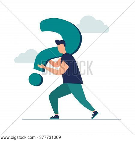 Vector Illustration, Conceptual Illustration Of Frequently Asked Questions Exclamation Marks And Que