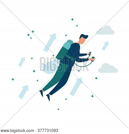 Vector Illustration, Move Up Motivation, Way To Achieve Goal. The Concept Of Achieving A Goal On A J