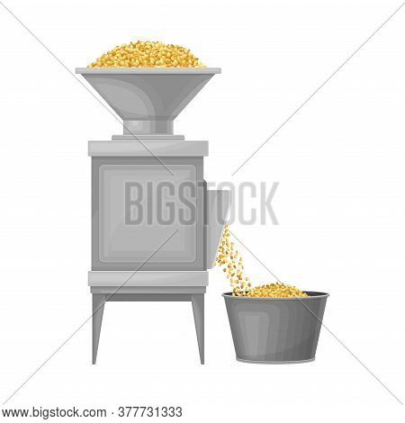 Conveyor With Cereal Grain Husking Process As Beer Production Vector Illustration