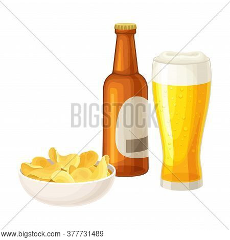 Lager Beer Poured In Glass With Bottle And Crunchy Snack In Bowl Vector Illustration