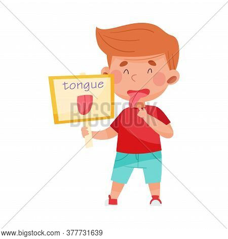 Cheerful Boy Character Holding Flashcard With Tongue Image Vector Illustration