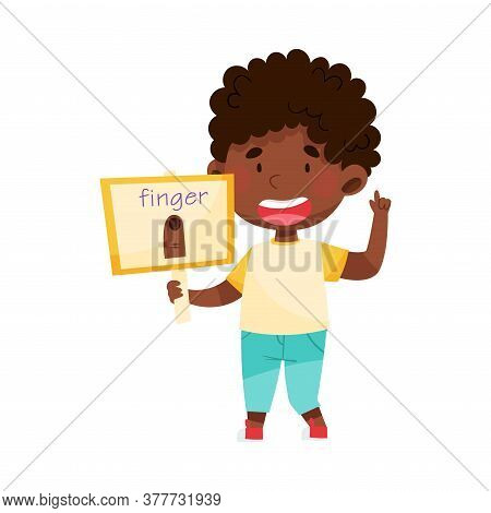 Cute African American Boy Character Holding Flashcard With Finger Image Vector Illustration
