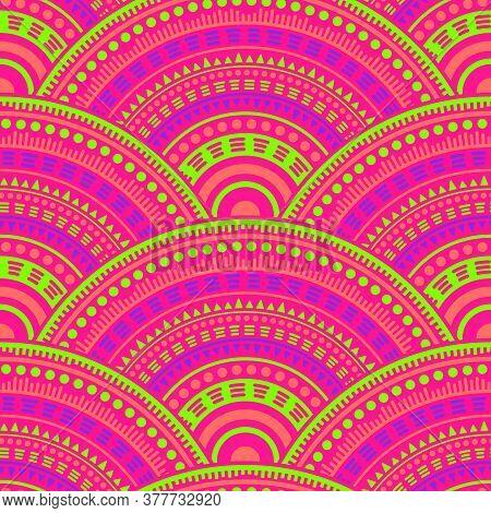Moroccan Mandala Circles Background Vector Seamless Pattern. Tribal Motifs Damask Repeating Illustra