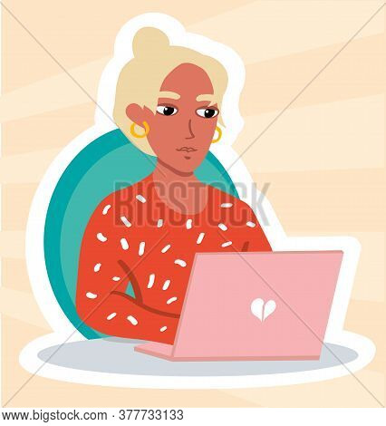 Young Blondie Girl With Pink Laplop On Peach Background. Home Office Freelancer Or Chatting Online B