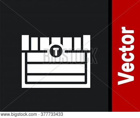 White Antique Treasure Chest Icon Isolated On Black Background. Vintage Wooden Chest With Golden Coi