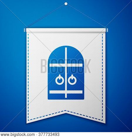Blue Medieval Castle Gate Icon Isolated On Blue Background. Medieval Fortress. Protection From Enemi