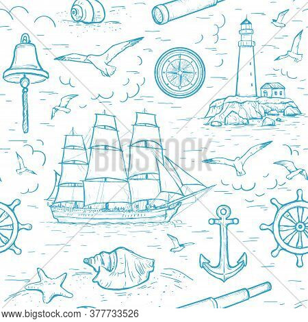 Vector Sketch Seamless Marine Pattern With Sailing Ship, Lighthouse, Spyglass, Seagulls, Compass, An