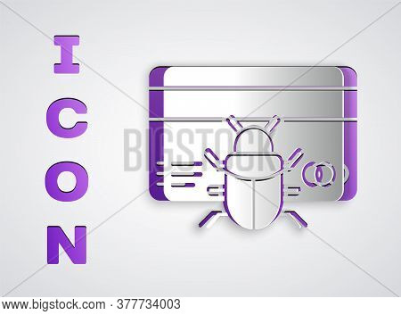 Paper Cut System Bug In Credit Card Icon Isolated On Grey Background. Code Bug Concept. Bug In The S