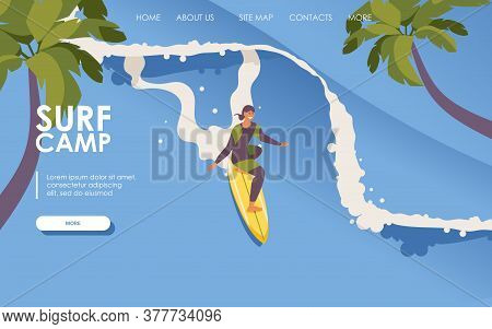 Landing Page For Surf School. Isometric Man Riding Surfboard. Long Wave, Palms. Concept Extreme Spor
