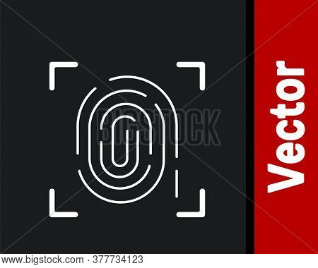 White Fingerprint Icon Isolated On Black Background. Id App Icon. Identification Sign. Touch Id. Vec
