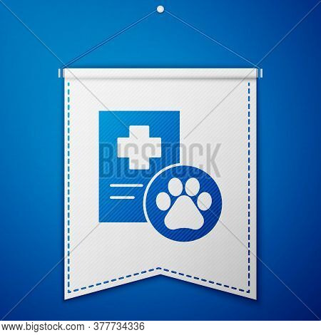 Blue Clipboard With Medical Clinical Record Pet Icon Isolated On Blue Background. Health Insurance F