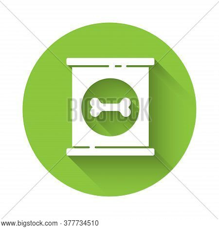 White Canned Food Icon Isolated With Long Shadow. Food For Animals. Pet Food Can. Dog Bone Sign. Gre