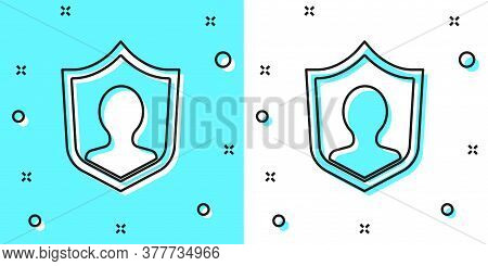Black Line User Protection Icon Isolated On Green And White Background. Secure User Login, Password
