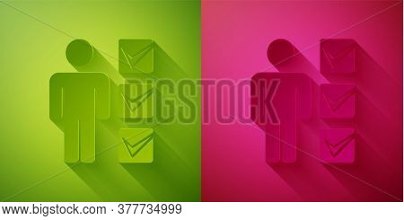 Paper Cut User Of Man In Business Suit Icon Isolated On Green And Pink Background. Business Avatar S
