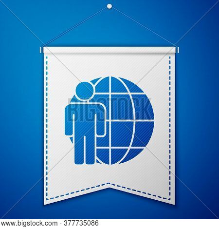 Blue Head Hunting Icon Isolated On Blue Background. Business Target Or Employment Sign. Human Resour