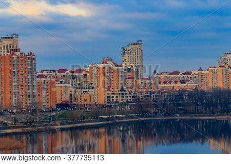 View Of Obolon Embankment Of The Dnieper River And Church Of The Nativity Of Christ In Kiev, Ukraine