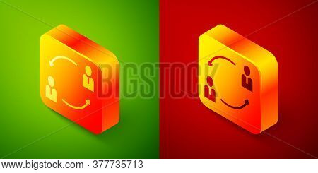 Isometric Human Resources Icon Isolated On Green And Red Background. Concept Of Human Resources Mana